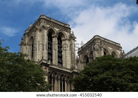 Cathedral Notre Dame de Paris is a most famous Gothic, Roman Catholic cathedral  - stock photo