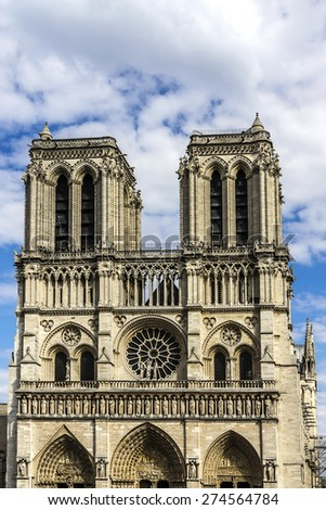 Cathedral Notre Dame de Paris is a most famous Gothic, Roman Catholic cathedral (1163 - 1345) on the eastern half of the Cite Island. France, Europe. - stock photo