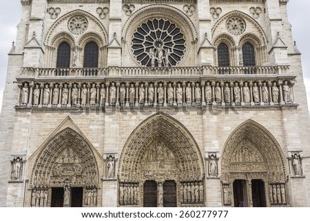 Cathedral Notre Dame de Paris - most famous Gothic, Roman Catholic cathedral (1163 - 1345) on eastern half of Cite Island. France, Europe.