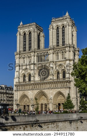 Cathedral Notre Dame de Paris - most famous Gothic, Roman Catholic cathedral (1163-1345) on eastern half of Cite Island. France, Europe - stock photo