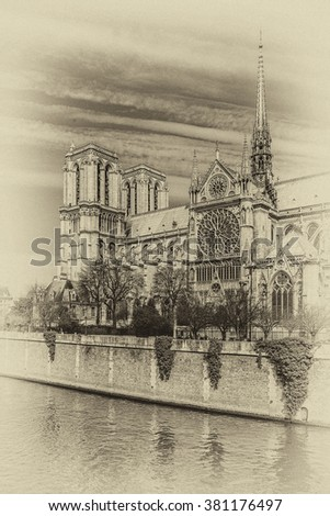 Cathedral Notre Dame de Paris - most famous Gothic, Roman Catholic cathedral (1163 - 1345) on the eastern half of the Cite Island. France, Europe Vintage photo.