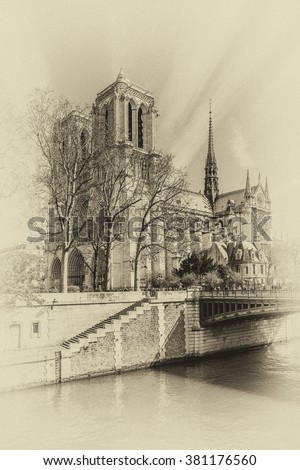 Cathedral Notre Dame de Paris - most famous Gothic, Roman Catholic cathedral (1163 - 1345) on the eastern half of the Cite Island. France, Europe Vintage photo. - stock photo