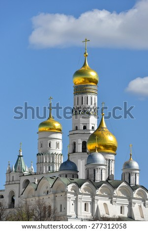 Cathedral of Archangel (Archangel Michael) and Ivan Great Bell Tower, Moscow Kremlin in Russia - stock photo