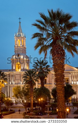 Cathedral of Arequipa in the evening, Peru - stock photo