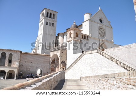 Cathedral of Basilica of St. Francis of Assisi, Italy. ,found by Saint Francis of Assisi , an Italian Catholic friar and preacher.  This Cathedral is a well known and important landmark of Assisi.