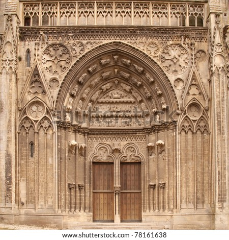 Cathedral of Bayeux, Normandy, France, entrance. - stock photo