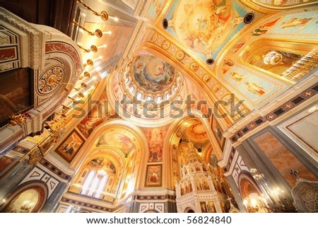 Cathedral of Christ the Saviour. inside of orthodox church fresco on ceiling and walls. - stock photo