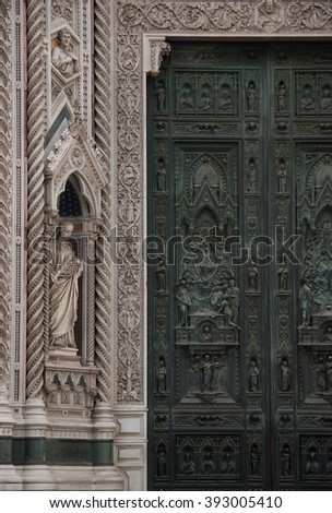 Cathedral of Florence (Duomo), Florence, Tuscany, Italy - Circa January 2007 : One of the main entrance doors of the cathedral of Florence