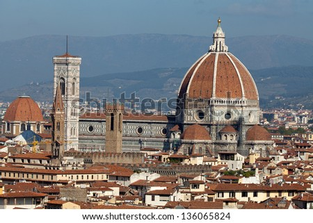 Cathedral of Florence Italy, View from the Michelangelo's Piazza - stock photo