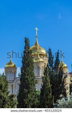 Cathedral of Gorny Monastery,  Jerusalem, Israel - stock photo