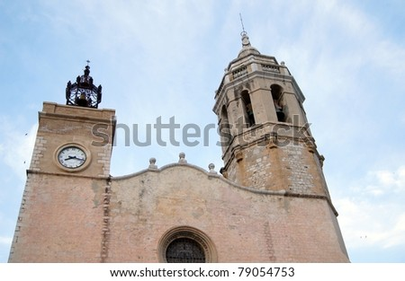 Cathedral of historical town Sitges in Catalonia, close to Barcelona, Spain