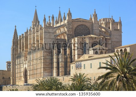Cathedral of la Seu Majorca in Palma de Mallorca Balearic islands Spain - stock photo