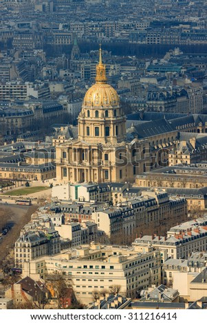 Cathedral of Les Invalides with Napoleon's tomb in Paris, France - stock photo