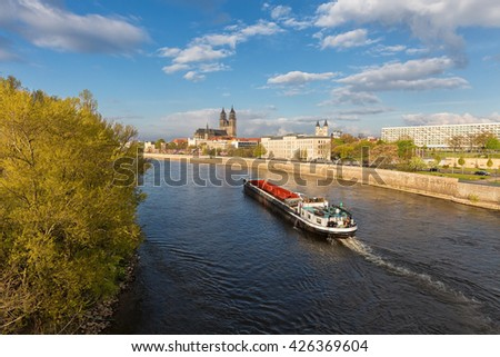 Cathedral of Magdeburg at river Elbe, Germany  - stock photo