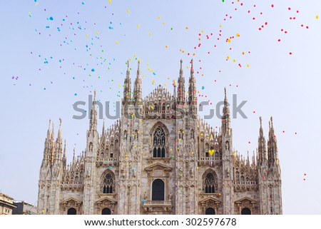 Cathedral of Milan in color balloons