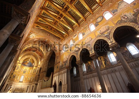 Cathedral of Monreale in Palermo, Sicily - stock photo