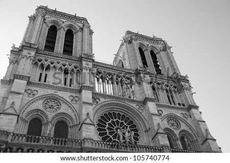 Cathedral of Notre Dame de Paris in black and white. - stock photo
