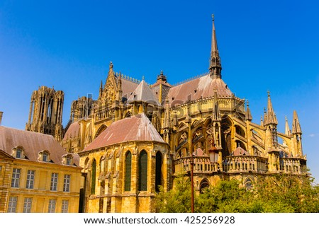 Cathedral of Notre-Dame of Rheims,  Champagne-Ardenne, France - stock photo