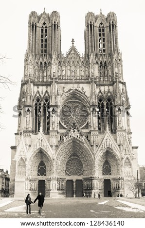Cathedral of Notre-Dame, Reims, France - stock photo