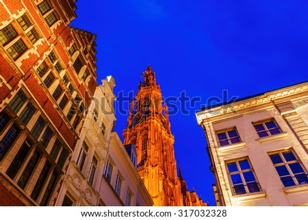 Cathedral of Our Lady in Antwerp, Belgium, at night - stock photo
