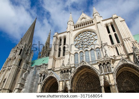 Cathedral of Our Lady of Chartres, a medieval Catholic cathedral in Chartres, France, about 80 kilometers southwest of Paris. - stock photo