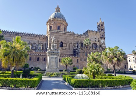 Cathedral of Palermo - is the city's cathedral and main church in Palermo, Sicily, Italy. - stock photo