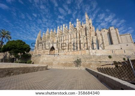 Cathedral of Palma de Majorca, wide angle - stock photo