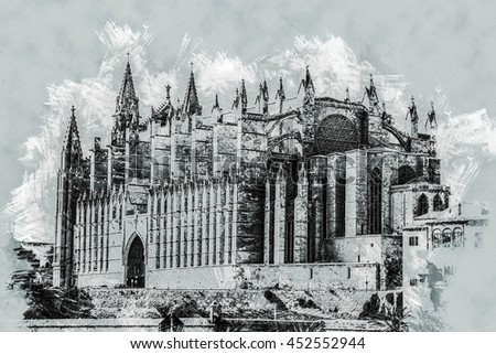 Cathedral of Palma de Mallorca, rear view from road. Big gothic church on the sea shore. Beautiful travel picture of Spain. Modern painting, background illustration. - stock photo
