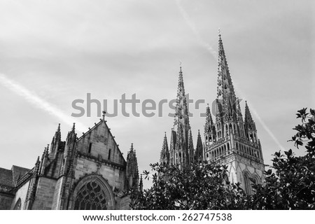 Cathedral of Quimper. Brittany, France. Aged photo. Black and white. - stock photo