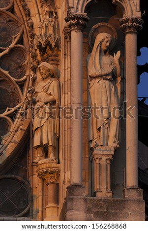 Cathedral of Reims, Marne, Champagne-Ardenne, France - stock photo