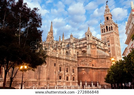 Cathedral of Saint Mary (Catedral de Santa Maria de la Sede), Giralda. Seville, Spain - stock photo