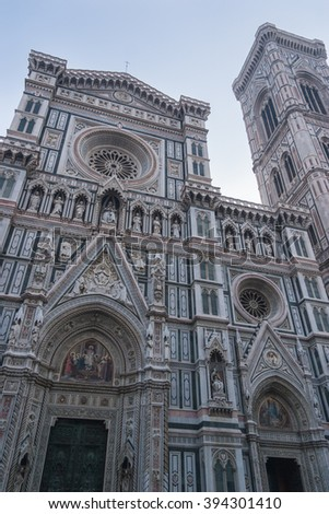Cathedral of Saint Mary of the Flowers (Il Duomo di Firenze), Florence, Tuscany, Italy - January 17, 2007 : The front facade of the Cathedral of Saint Mary of the Flowers (or Il Duomo di Firenze).
