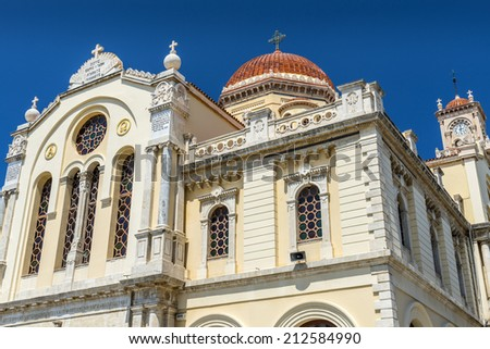 Cathedral of Saint Minas orthodox church in Heraklion, Crete - stock photo