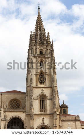Cathedral of Saint Salvador in Oviedo, Asturias, Spain - stock photo