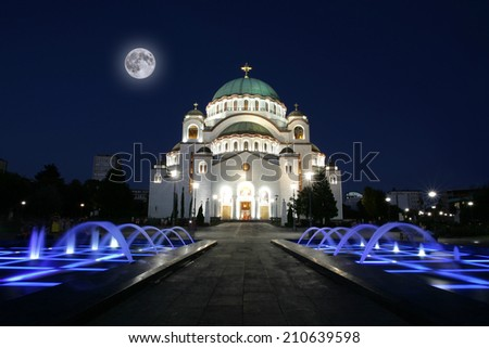 Cathedral of Saint Sava at evening, Belgrade, Serbia  - stock photo
