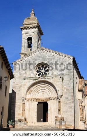 Cathedral of San Quirico d'Orcia in Tuscany, Italy