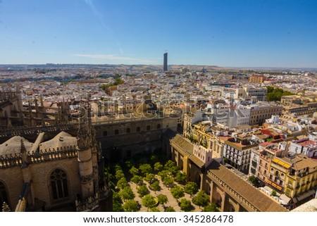 Cathedral of Santa Maria de Sevilla view from the Giralda in Seville Spain - stock photo
