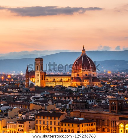 Cathedral of Santa Maria del Fiore (Duomo) at dusk, Florence, Italy - stock photo