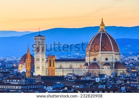 Cathedral of Santa Maria del Fiore (Duomo) at night, Florence, Italy. - stock photo