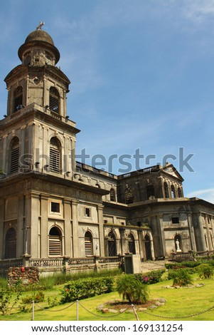 Cathedral of Santiago in Managua, Nicaragua on the Plaza of the Revolution  - stock photo