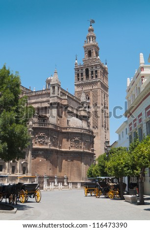 Cathedral of Sevilla (built in 1511) in Andalucia, Spain. - stock photo