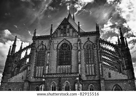 Cathedral of St. Barbara in Kutna Hora, Czech Republic. B&W HDR style.