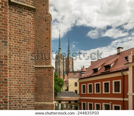 Cathedral of St. John the Baptist, The building was built in the Gothic style and is the first Gothic church in Wroclaw - stock photo