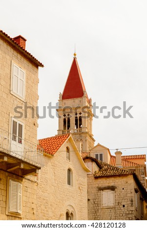Cathedral of St. Lawrence (Katedrala Sv. Lovre), a Roman Catholic triple-naved basilica constructed in Romanesque-Gothic in Trogir, Croatia. UNESCO World heritage - stock photo