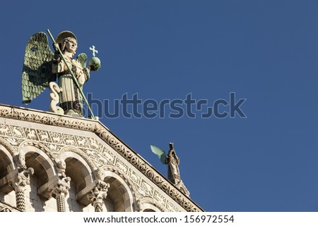 Cathedral of St Martin, Facade Dome Duomo di Lucca Italy Tuscany - stock photo