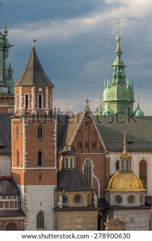 cathedral of St Stanislaw and St Vaclav on the Wawel Hill, Krakow, Poland. - stock photo