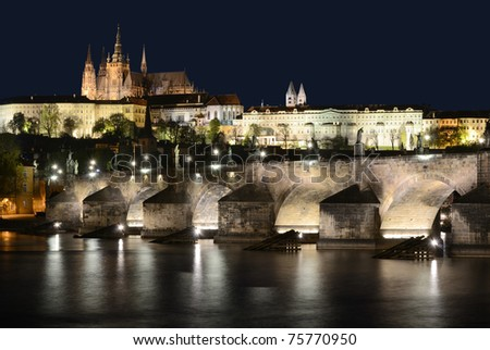 Cathedral of st. Vitus and Charles Bridge in Prague - stock photo