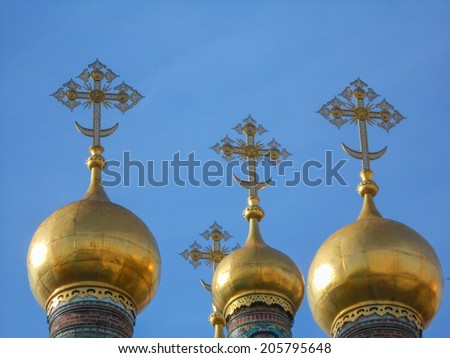 Cathedral of the Dormition Russian Orthodox church dedicated to the Dormition of the Theotokos in Moscow Russia - stock photo