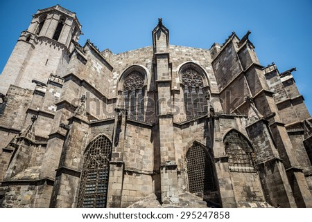 Cathedral of the Holy Cross and Saint Eulalia at Gothic Quarter in Barcelona, Spain - stock photo