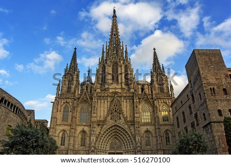 Cathedral of the Holy Cross and Saint Eulalia in Barcelona Catalonia Spain